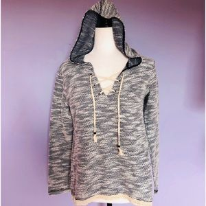 American rag heather grey lace up hoodie